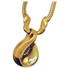 Bold Vintage Signed Napier Golden Slide Chain Necklace