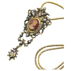 Bold Convertible Victorian Revival Vintage Glass Cameo Brooch Pendant Necklace FREE SHIPPING