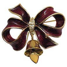 Amazing Christmas Red Enameled Vintage Bow Brooch with Bell