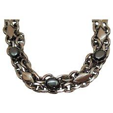 Mid Century Modern Vintage Silver Diamond Shaped Bracelet Black Glass Stones