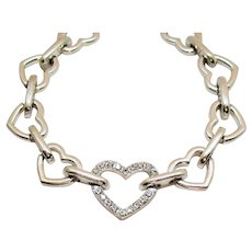 Unusual Signed Avon Vintage Silver Heart Rhinestone Bracelet Unworn