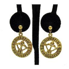 Signed Avon Vintage 1980s Sagittarius Astrological Pierced Earrings