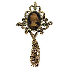 Gorgeous Signed Florenza Vintage Faux Tortoise Shell Cameo Tiered Tassel Brooch