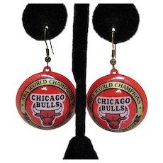 Signed NBA World Champions Chicago Bulls Vintage Red Plastic Pierce Earrings