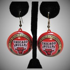 Signed NBA World Champions Chicago Bulls Vintage Red Plastic Pierce Earrings