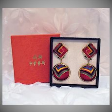 Vintage Chinese Traditional Folklore Silk Handcrafted Needlework Clip Earrings Original Box Unworn!