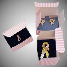 Set of Signed Avon Vintage Pink Ribbon Better Breast Care Ribbon Pin Cancer Awareness 1993 Small Large Ribbon Brooches Matching Earrings Original Boxes Unworn