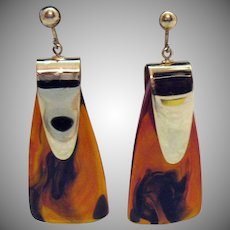 Statement Pierced Earrings Tortious Shell Lucite Dangle