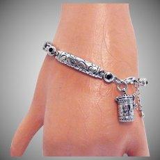 Signed Alexa's Angels Vintage Silver Bracelet Serenity Mechanical Prayer Box Charm
