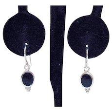 Petite Vintage Sterling Silver Black Onyx Pierced Earrings