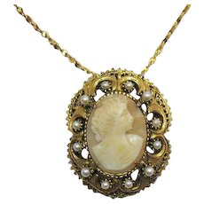 Signed Florenza Cameo Vintage Convertible Brooch Pendant Necklace