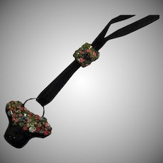 Delightful Art Deco Grosgrain Ribbon Celluloid Flower Basket Vintage Slide Necklace