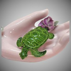 Vintage Enameled Green Figural Sea Turtle Brooch