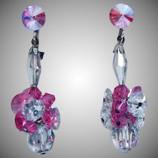 Vintage Margarita Flower Pink Clear Silver Rhinestone Dangle Earrings