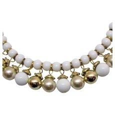 Fabulous Vintage White Golden Faux Pearl Beaded Fringe Necklace