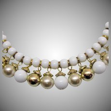 Fabulous Vintage White Golden Faux Pearl Beaded Fringe Necklace