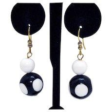 Vintage Black White Beaded Polka Dotted Dangle Pierced Earrings