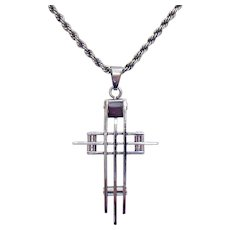 Vintage Sterling Silver Necklace Stainless Steel Cross Pendant