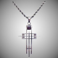 intage Sterling Silver Necklace Stainless Steel Cross Pendant