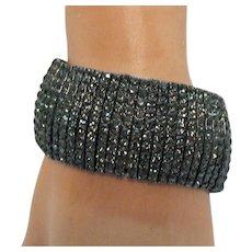 Vintage Black Rhinestone Big Bold Stretch Bracelet 122.9 Grams