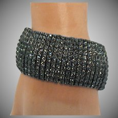 Vintage Black Rhinestone Big Bold Stretch Bracelet 122.9 Grams
