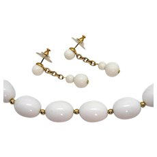 Signed Monet Vintage White Lucite Gold Beaded Necklace Pierced Earrings Set