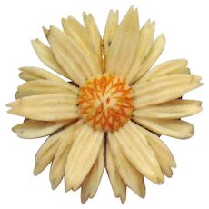 Signed Alice Caviness 12K Gold Filled Petite Plastic Sun Flower Brooch