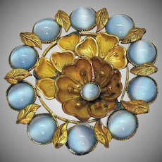 Bold Signed Czechoslovakia Vintage Brass Blue Moonstone Flower Brooch