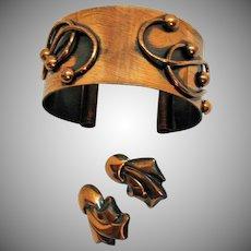Mid Century Modern Vintage Shadow Box Copper Cuff Bracelet Earrings Set Original Sticker