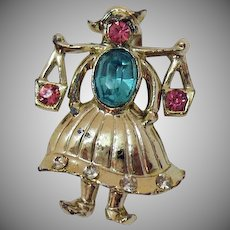 Vintage Figural Dutch Girl Holding Water Buckets Rhinestone Brooch