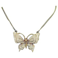 Vintage Signed Art Arthur Pepper Designed Enameled Butterfly Lavaliere Necklace