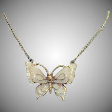 Vintage Signed Art Arthur Pepper Designed Enameled Butterfly Lavaliere Necklace
