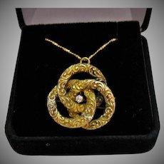 Antique 14K Gold Diamonds Interlocking Repousse Victorian Convertible Brooch Pendant Necklace