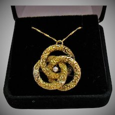 Antique 14K Gold Diamonds Interlocking Repousse Victorian Convertible Brooch Pendant Necklace
