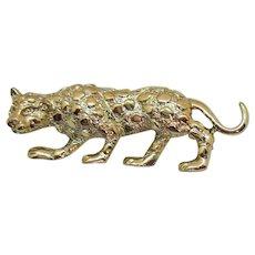Signed Gerry's Vintage Figural Golden Spotted Leopard Brooch