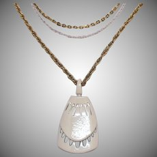 Mid Century Modern Triple Chain Vintage White Enameled Metal Pendant Necklace