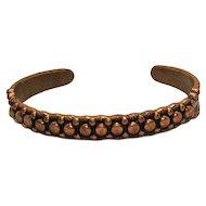 Wonderful Vintage Signed Native American Indian Solid Copper Cuff Bracelet