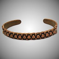 Wonderful Vintage Signed Native American Indian Solid Copper Cuff Bracelet