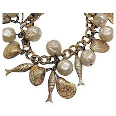 Fun Vintage Figural Sea Beach Faux Baroque Pearl Fish Charm Bracelet