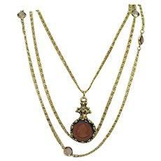 BOOK Unsigned Goldette Vintage Reverse Carved Amber Glass Intaglio Necklace