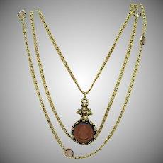Unsigned Goldette Vintage Reverse Carved Amber Glass Intaglio Necklace