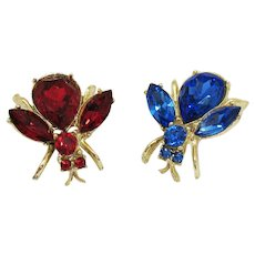 Awesome Vintage Huge Sapphire Ruby Colored Rhinestone Figural Bee Scatter Pins