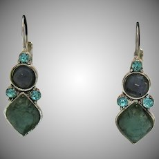 Signed Liz Claiborne Vintage Periwinkle Blue Faux Green Jade Rhinestone Silver Pierced Earrings