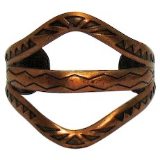 Fabulous Wide Vintage Carved Solid Copper Native American Indian Cuff Bracelet