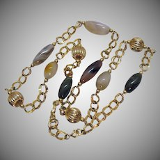 Beautiful Vintage 12K Gold Filled Agate Gemstone Beaded Necklace