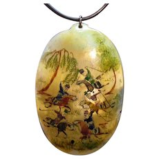 Antique Hand Painted Miniature Picture on MOP Persian Necklace Signed Made in Iran