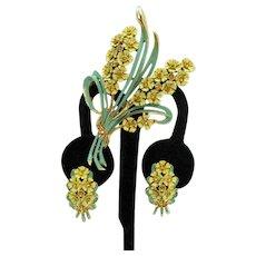 Great Vintage Metal Enameled Rhinestone Spring Brooch Earrings Set