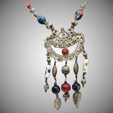 Kuchi BOHO Vintage Millefiore Glass Beaded Figural Dove Necklace