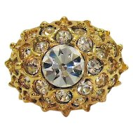 Vintage Cubic Zirconia Sparkling Golden Tiered Cocktail Ring