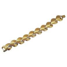 Signed Napier 1988 Vintage Golden Ribbed Metal Bracelet Pat #4774743